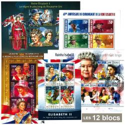 12 blocs Reine Elisabeth II