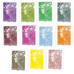 11 timbres adhésifs Marianne