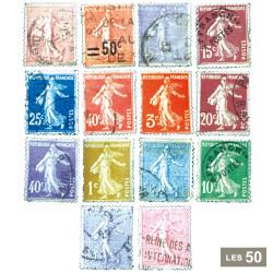 50 timbres oblitérés