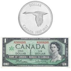 Lot 2 x 1 Dollar Canada 1967