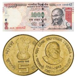 Lot des 2 monnaies d'Inde