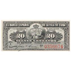 Billet 20 Centavos Cuba 1897