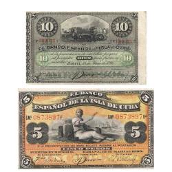Billets 5, 10 Pesos Cuba 1896