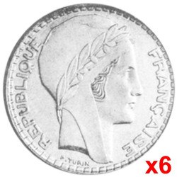 Lot 6 x 10 Francs Argent Turin