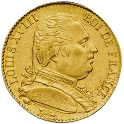 20 Francs Or Louis XVIII...