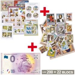 Lot de 200 Timbres + Billet...