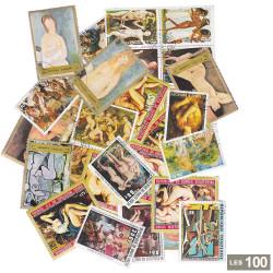 100 Timbres Tableau de nus