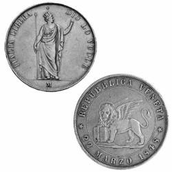 Lot 2 x 5 Lires Argent 1848