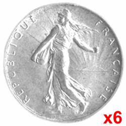 Lot 6 X 2 Francs Argent...