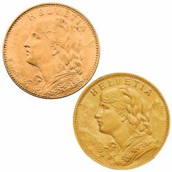 Lot 2 monnaies Or Vrénéli