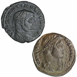 Lot 2 monnaies Constantin 1er