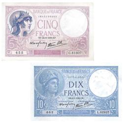 Lot 2 billets 5 Francs...