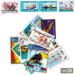 25 timbres Canoë/Aviron