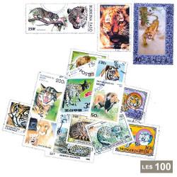 100 timbres Félins