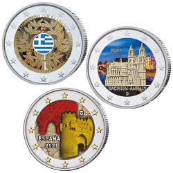 Lot 3 x 2 Euro colorisées 2021