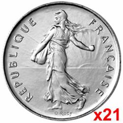 Lot de 21 pièces de 1 Franc...
