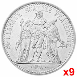 Lot de 9x10 Francs Argent...