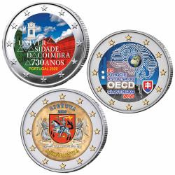 Lot 3 x 2 Euro colorisées 2020