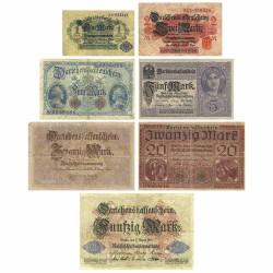 7 Billets Allemagne 1914-1918
