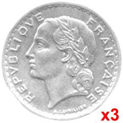 Lot 3 x 5 Francs Lavrillier