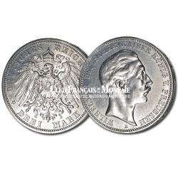 Allemagne - 3 Marks Argent Guillaume II de Prusse