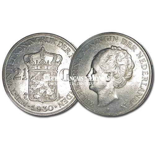 Pays-Bas - 2,5 Gulden Argent Wilhelmine de Hollande